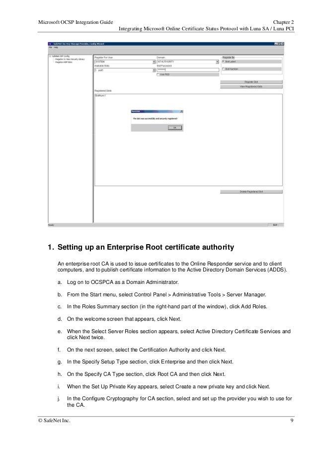 Microsoft OCSP LUNA SA PCI Integration Guide