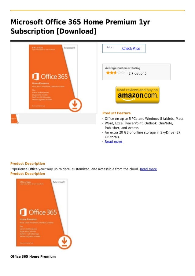 Microsoft Office 365 Home Premium 1yrSubscription [Download]                                                              ...