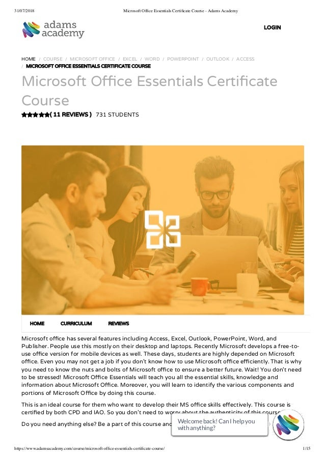 Microsoft Office Essentials Certificate Course Adams Academy