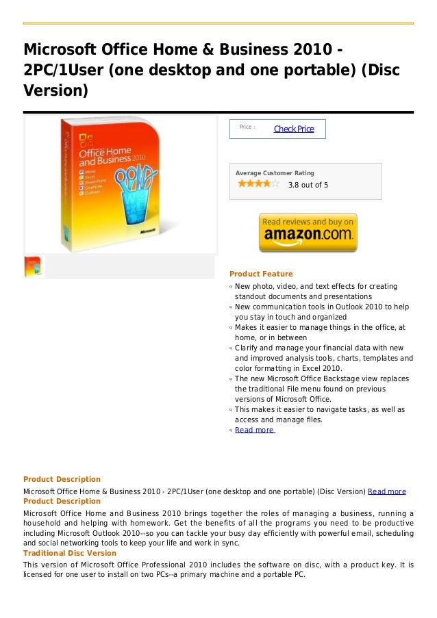 Microsoft Office Home & Business 2010 -2PC/1User (one desktop and one portable) (DiscVersion)                             ...