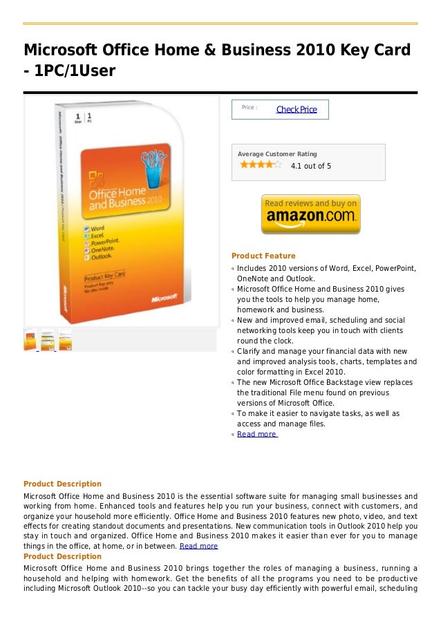 Microsoft Office Home & Business 2010 Key Card- 1PC/1User                                                              Pri...