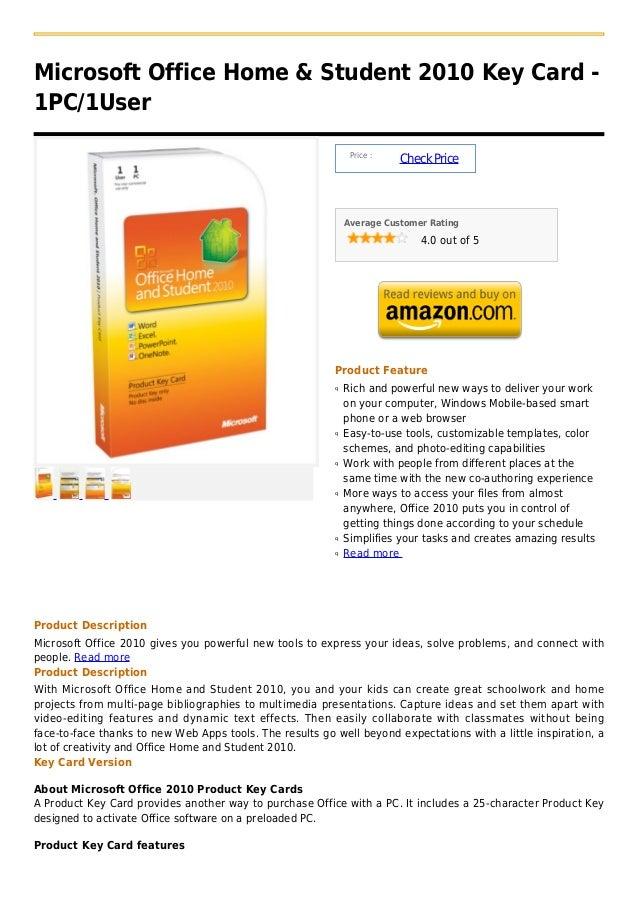 Microsoft Office Home & Student 2010 Key Card -1PC/1User                                                               Pri...