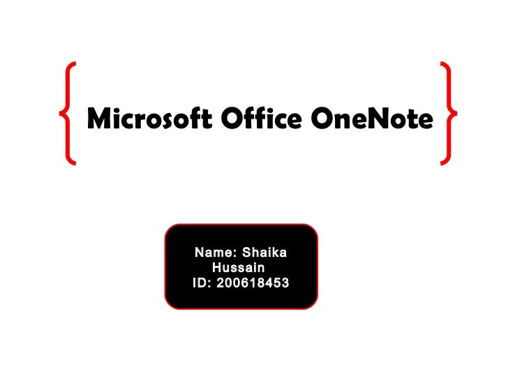 Microsoft office one note