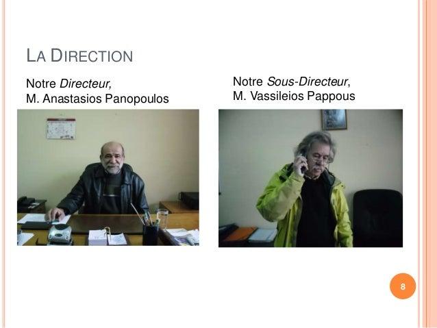 LA DIRECTION  Notre Directeur,  M. Anastasios Panopoulos  Notre Sous-Directeur,  M. Vassileios Pappous  8