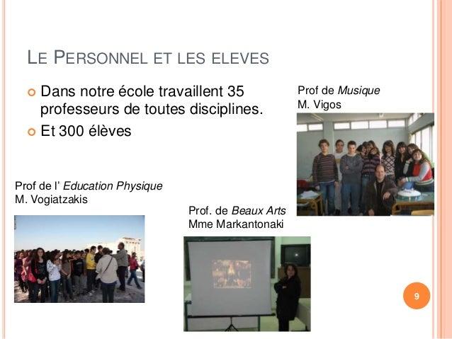 LE PERSONNEL ET LES ELEVES   Dans notre école travaillent 35  professeurs de toutes disciplines.   Et 300 élèves  9  Pro...