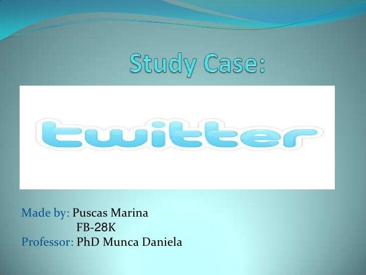 Study Case:<br />Made by: Puscas Marina<br />                  FB-28K<br />Professor: PhD Munca Daniela<br />