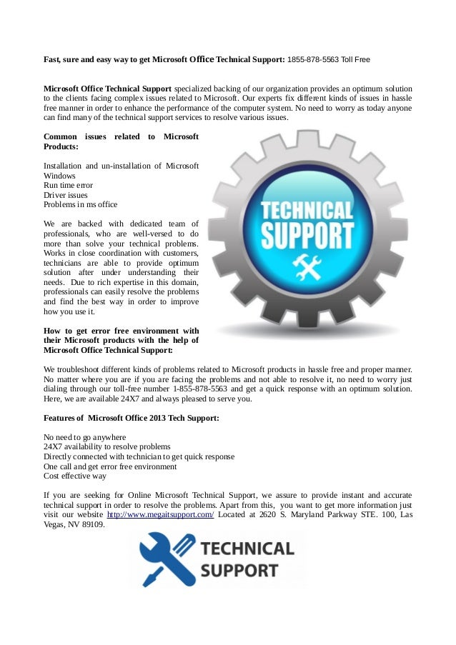 Microsoft office technical support 1855 878-5563 toll free
