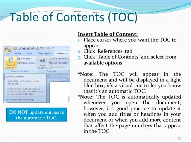 microsoft word table of contents thesis Microsoft word has an automatic table of contents if you need additional assistance creating an automatic table of contents for your research paper, thesis.
