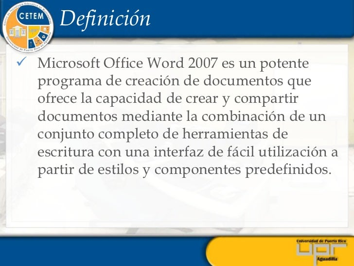 Microsoft office word 2007 for Significado de oficina