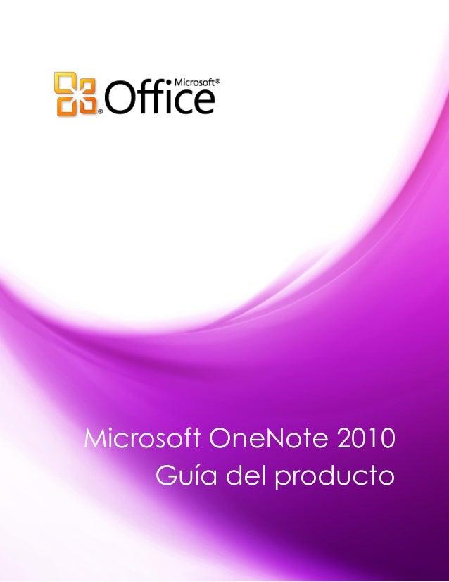 Microsoft OneNote 2010     Guía del producto
