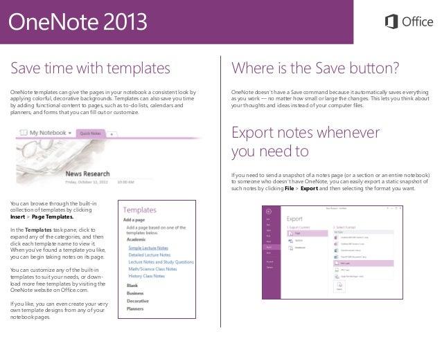 Microsoft onenote 2013 quickstart for Templates for onenote 2013