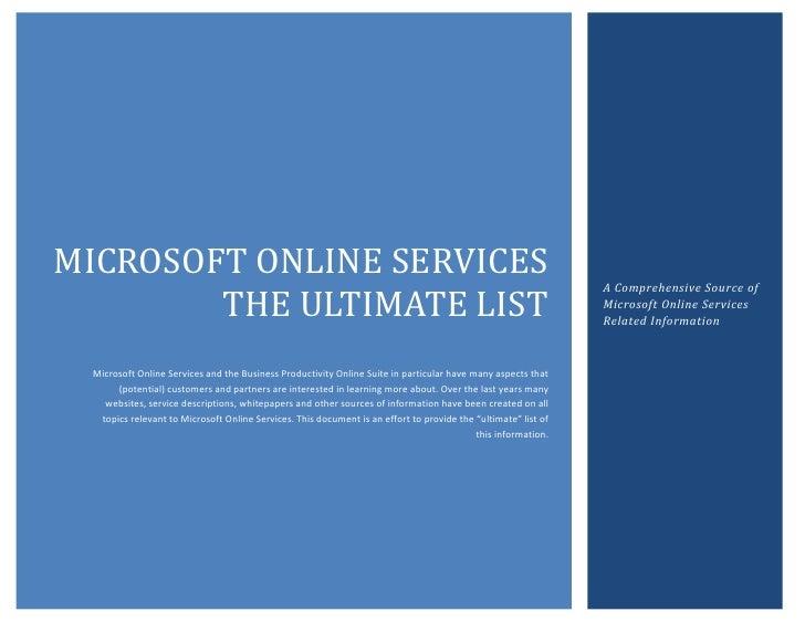 MICROSOFT ONLINE SERVICES                                                                                                 ...