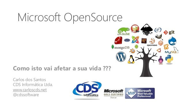 Microsoft OpenSource Como isto vai afetar a sua vida ??? Carlos dos Santos CDS Informática Ltda. www.carloscds.net @cdssof...