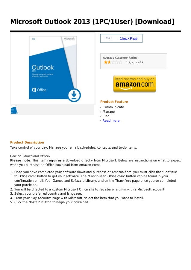 Microsoft Outlook 2013 (1PC/1User) [Download]                                                               Price :       ...