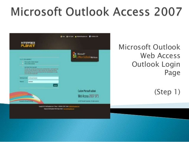 Microsoft Outlook Web Access Outlook Login Page (Step 1)