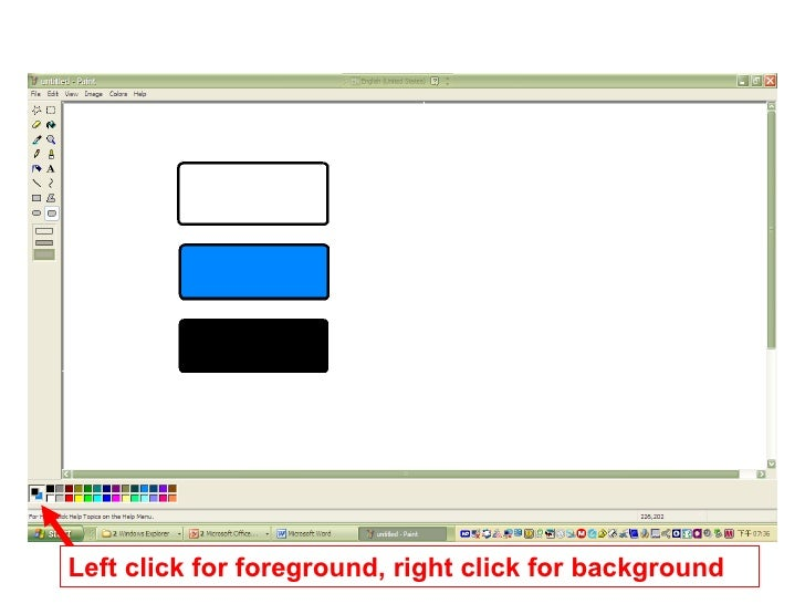 Left click for foreground, right click for background