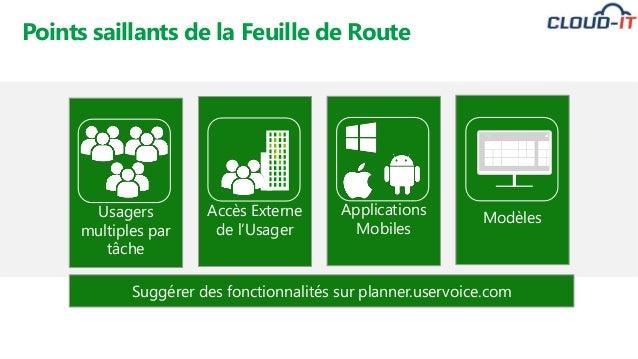 • No extra charge Points saillants de la Feuille de Route Accès Externe de l'Usager Usagers multiples par tâche Applicatio...