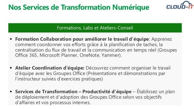 Nos Services de Transformation Numérique  Formation Collaboration pour améliorer le travail d'équipe: Apprenez comment co...