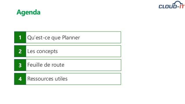 1 Qu'est-ce que Planner 2 Les concepts 3 Feuille de route 4 Ressources utiles Agenda