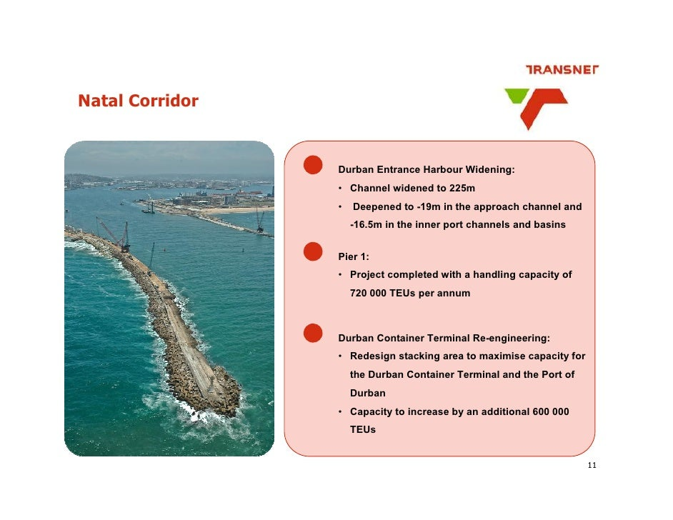 Natal Corridor                    Durban Entrance Harbour Widening:                  • Channel widened to 225m            ...
