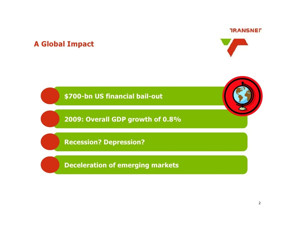 A Global Impact            $700-bn US financial bail-out          2009: Overall GDP growth of 0.8%          Recession? Dep...
