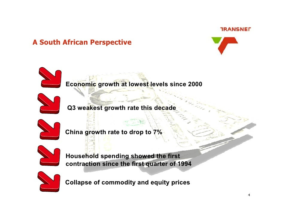 A South African Perspective             Economic growth at lowest levels since 2000            Q3 weakest growth rate this...