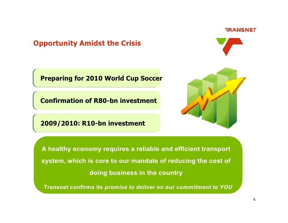 Opportunity Amidst the Crisis     Preparing for 2010 World Cup Soccer    Confirmation of R80-bn investment    2009/2010: R...