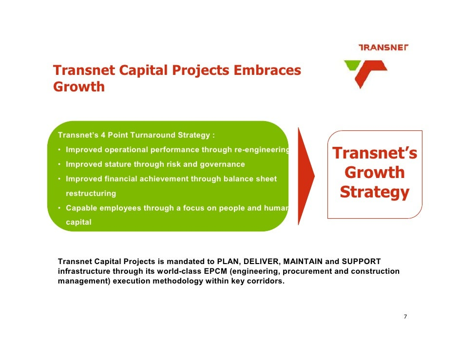 Transnet Capital Projects Embraces Growth   Transnet's 4 Point Turnaround Strategy :                                      ...