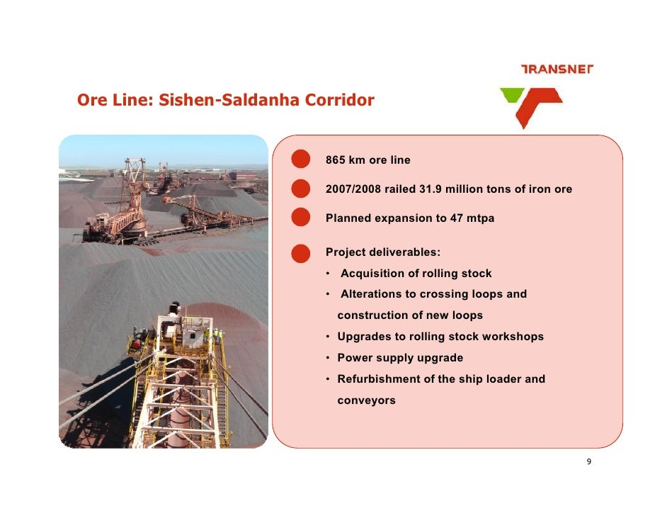 Ore Line: Sishen-Saldanha Corridor                               865 km ore line                              2007/2008 ra...