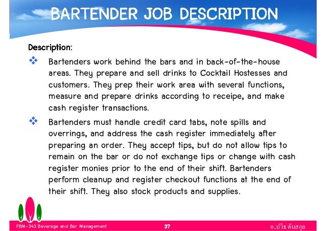 Marvelous Bartender Duties And Responsibilities  Bartender Responsibilities