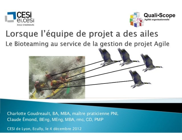 Charlotte Goudreault, BA, MBA, maître praticienne PNLClaude Émond, BEng, MEng, MBA, rmc, CD, PMPCESI de Lyon, Ecully, le 4...