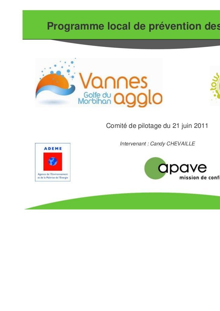Programme local de prévention des déchets           Comité de pilotage du 21 juin 2011               Intervenant : Candy C...