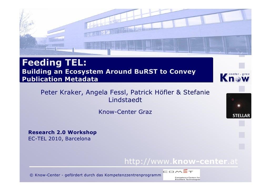 Feeding TEL: Building an Ecosystem Around BuRST to Convey Publication Metadata        Peter Kraker, Angela Fessl, Patrick ...
