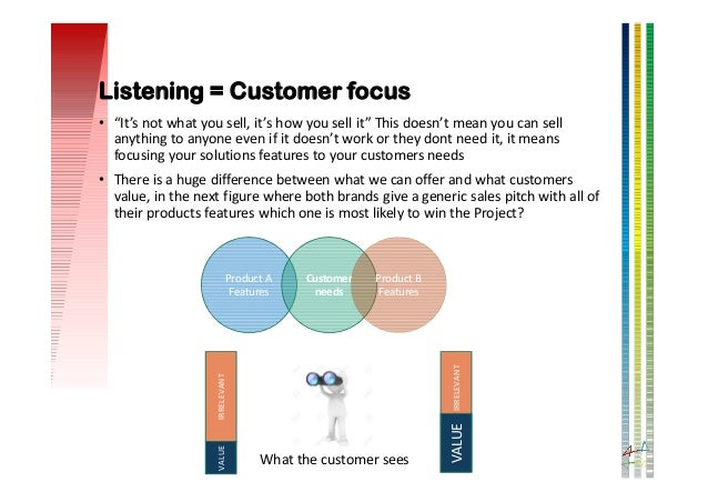 """Listening = Customer focus • """"It's not what you sell, it's how you sell it"""" This doesn't mean you can sell anything to any..."""