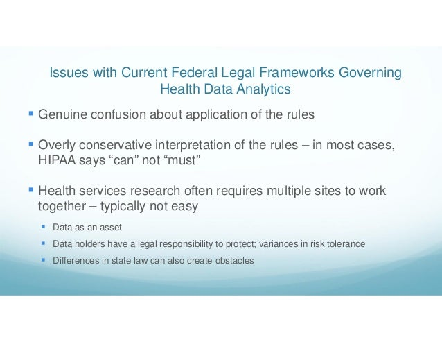 Issues with Current Federal Legal Frameworks Governing Health Data Analytics  Genuine confusion about application of the ...