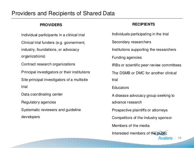 Providers and Recipients of Shared Data 19 PROVIDERS ● Individual participants in a clinical trial ● Clinical trial funder...
