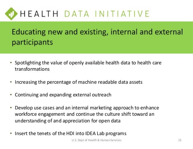 • HDI Charter to institutionalize the Health Data Initiative • Implement the Open Data Policy M13- Asset • Draft plans to ...