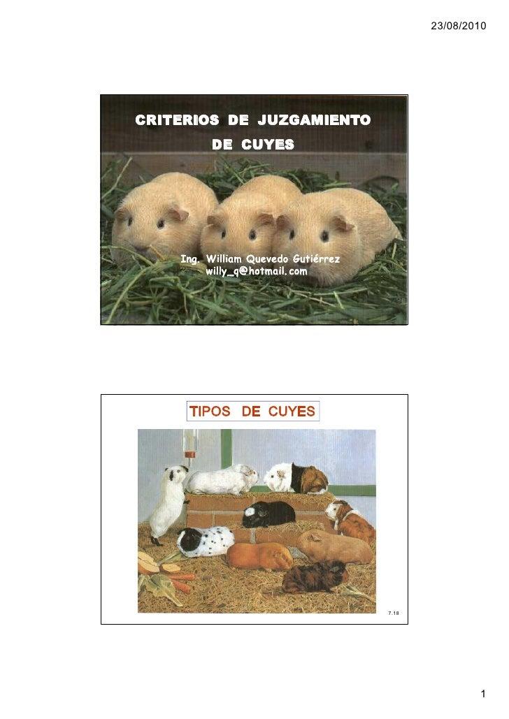 23/08/2010     CRITERIOS DE JUZGAMIENTO          DE CUYES         Ing. William Quevedo Gutiérrez          willy_q@hotmail...