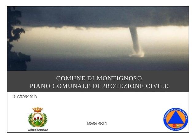 COMUNE DI MONTIGNOSO PIANO COMUNALE DI PROTEZIONE CIVILE Comune di Montignoso 2 Ottobre 2013 Barbara barsanti