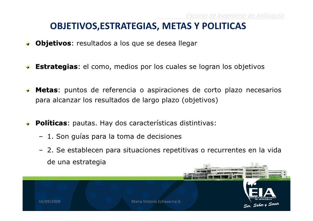 OBJETIVOS,ESTRATEGIAS, METAS Y POLITICAS Objetivos: resultados a los que se desea llegar Objetivos:   Estrategias: el como...