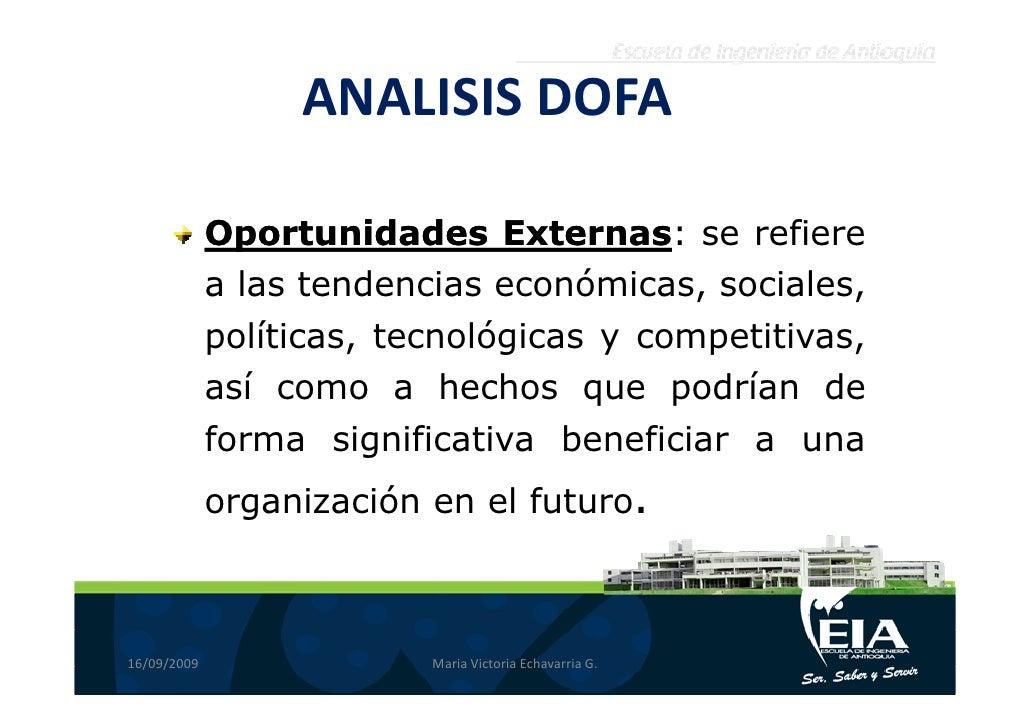ANALISIS DOFA               Oportunidades Externas se refiere                            Externas:              a las tend...