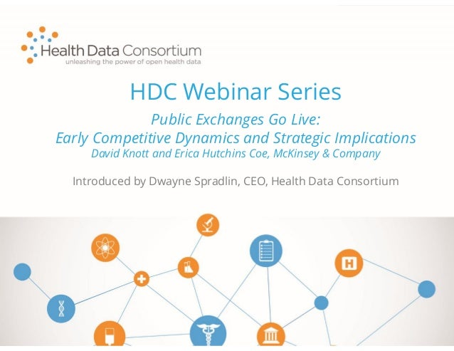 HDC Webinar Series Introduced by Dwayne Spradlin, CEO, Health Data Consortium Public Exchanges Go Live: Early Competitive ...