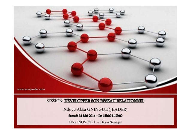 SESSION: DEVELOPPER SON RESEAU RELATIONNEL Ndèye Absa GNINGUE (JEADER) Samedi 31 Mai 2014 – De 15h00 à 19h00 Hôtel NOVOTEL...