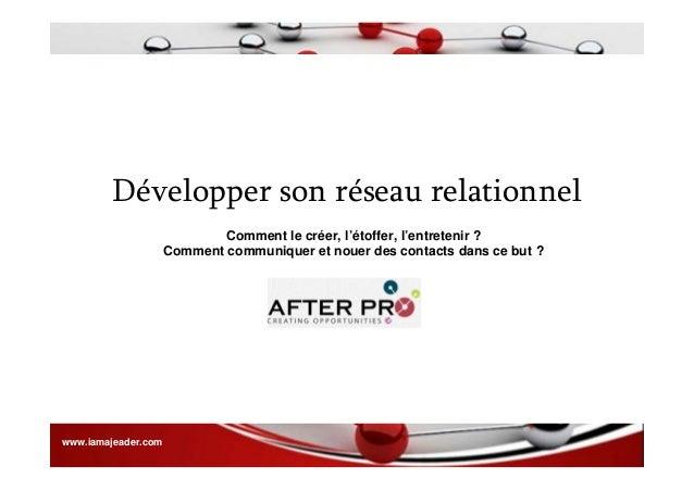 Développer son réseau relationnel - JEADER Slide 3