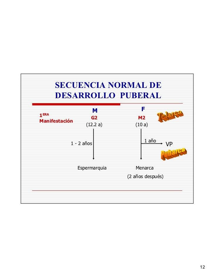 SECUENCIA NORMAL DE        DESARROLLO PUBERAL                          M           F 1ERA                 G2            M2...