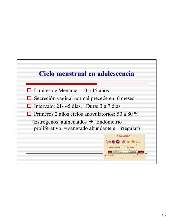 Ciclo menstrual en adolescencia   Limites de Menarca: 10 a 15 años.  Secreción vaginal normal precede en 6 meses  Interval...