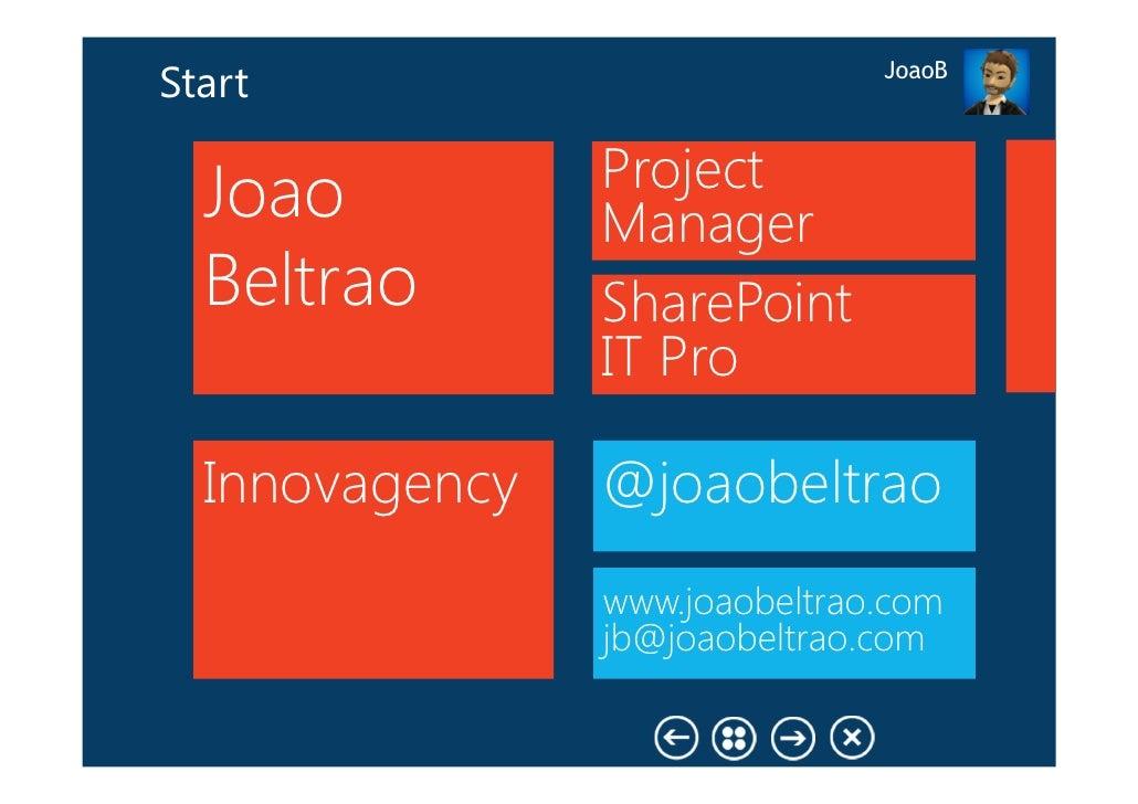JoaoBStart                Project  Joao          Manager  Beltrao       SharePoint                IT Pro  Innovagency   @j...