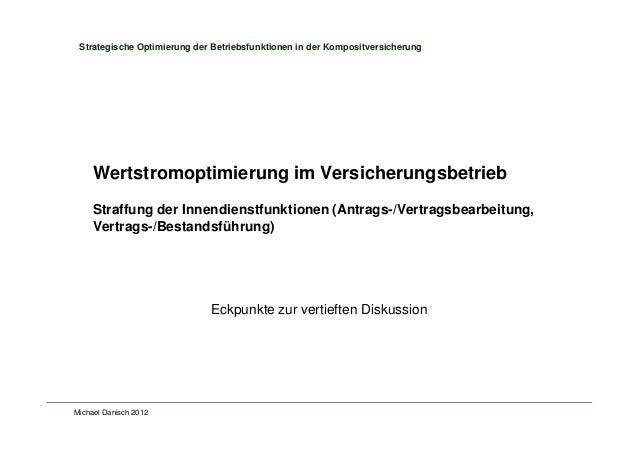 Michael Danisch 2012 Strategische Optimierung der Betriebsfunktionen in der Kompositversicherung Wertstromoptimierung im V...