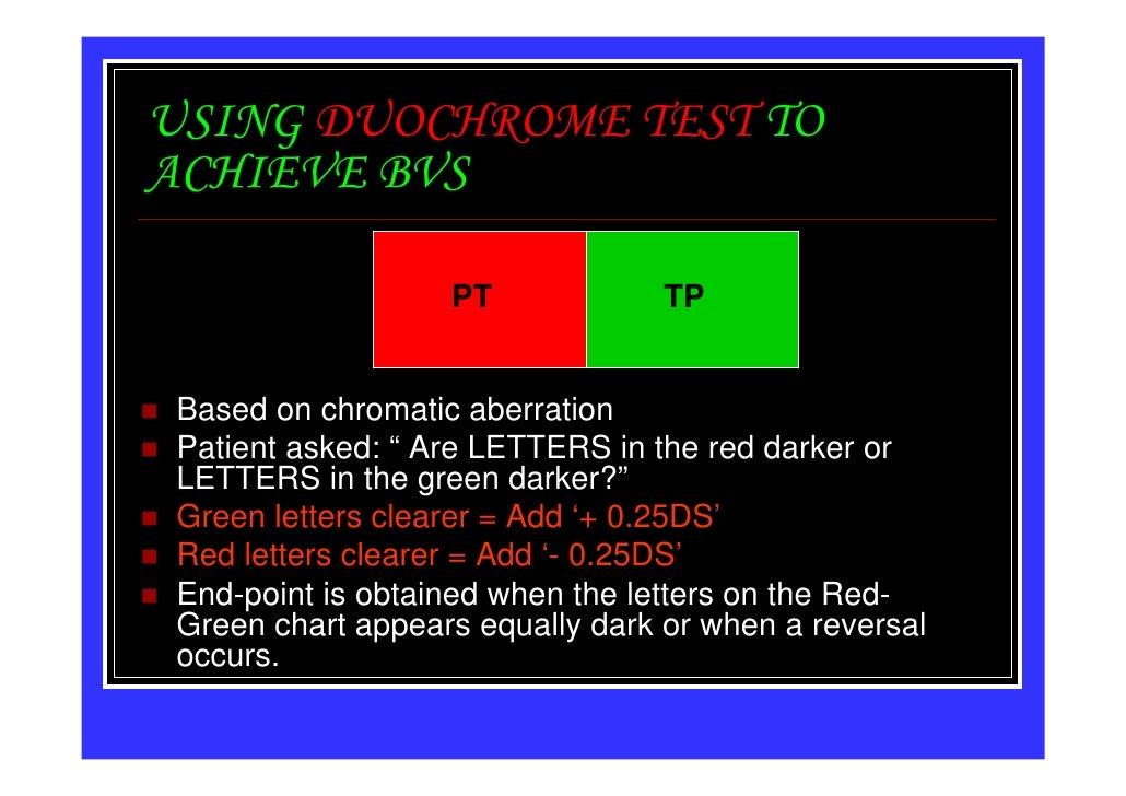 "USING DUOCHROME TEST TOACHIEVE BVS                  PT             TPBased on chromatic aberrationPatient asked: "" Are LET..."