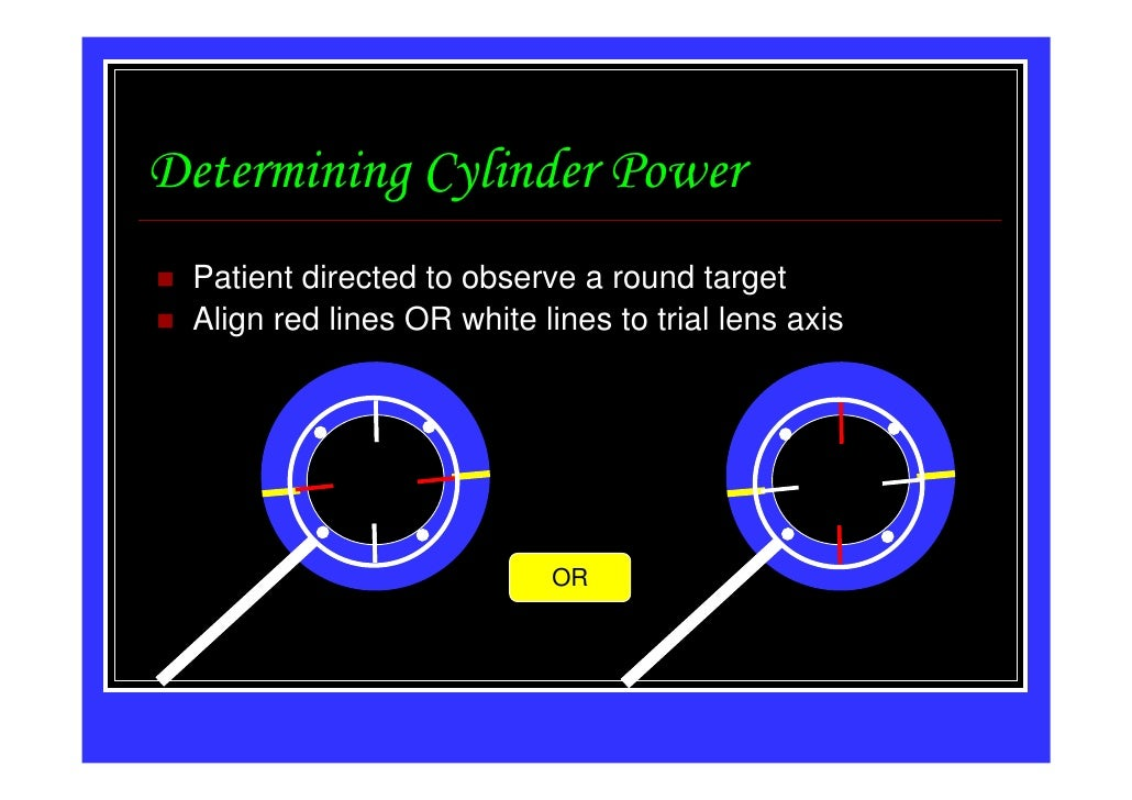 Determining Cylinder Power Patient directed to observe a round target Align red lines OR white lines to trial lens axis   ...